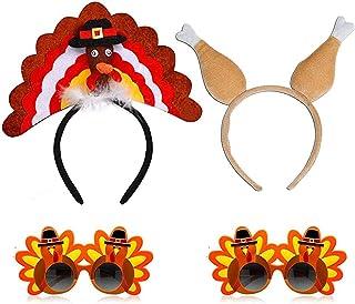 Aujuy Thanksgiving Turkey Headbands & Drumsticks Combo & Turkey Gl Accessories for Thanksgiving Costume Party (Turkey)