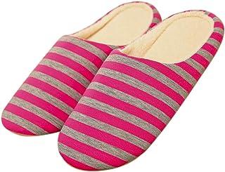 Zoylink Pantoffels voor heren en dames, zacht, met antislip patroon, gestreept. - rood - S