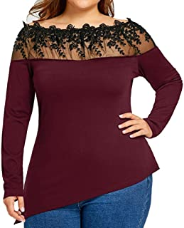 FAPIZI Women Blouse Plus Size Spring Summer Lace Shirt Long Sleeve Casual Round Collar Loose Long Shirt Tops (Red, XL)