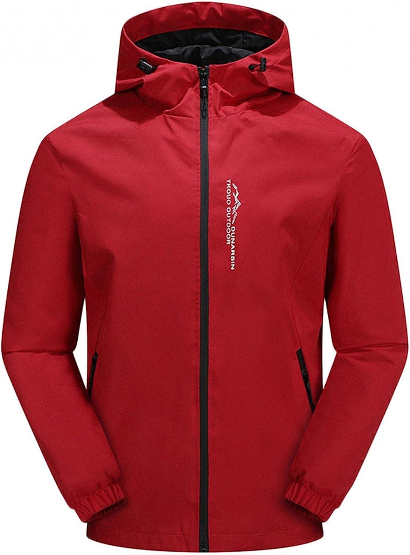 JSPOYOU Men's Waterproof Raincoat Lightweight Soft Shell Zip Up Hooded Jacket Coat Autumn Outdoor Windproof Mountain Jackets