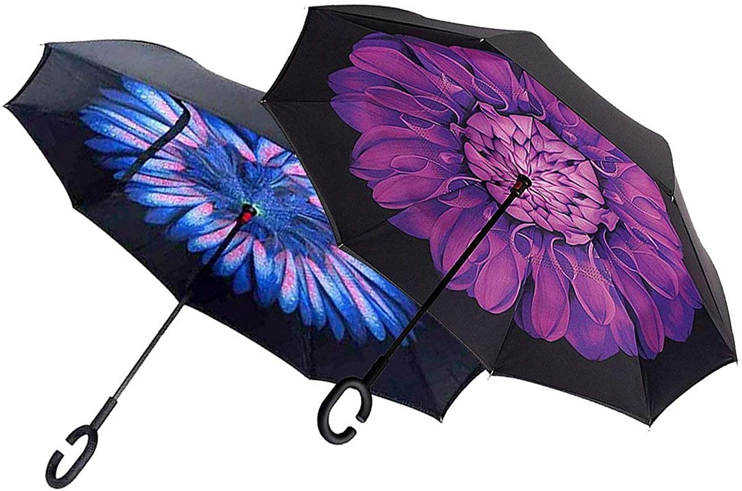 Set of 2 Ingreened Umbrella Windproof Reverse Double Layer Umbrella with Cshaped Hands Purple Flower& blueee Feathers B118451We Pay Your Sales Tax