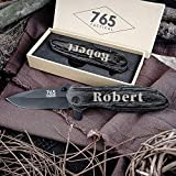 Froolu Custom Engraved Pocket Knife - Fishing, Camping, Hunting Knife - Personalized Gift - Perfect for Groomsmen, Birthday, Anniversaries & More - Sturdy Wooden Handle & Sharp, Thick Blade
