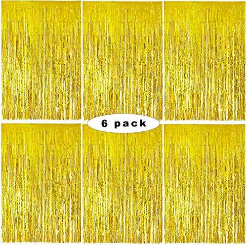 Sunshine smile Gold Metallic Tinsel Vorhänge,6 Stück Folie Fringe Shimmer Vorhang,1x2m Quaste Folie Vorhang Metallic,Folie Fransen Vorhänge Tür,Lametta Vorhang dekorative