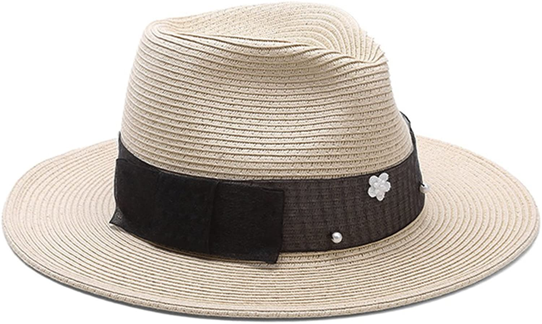 Aimsunaw Women's Summer Wide Brim Paper Straw Panama Hat Beach Cap