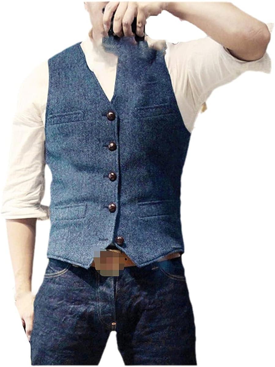 Men's suit vest blue single-breasted wool blend men's vest jeans vest jacket slim casual formal wear
