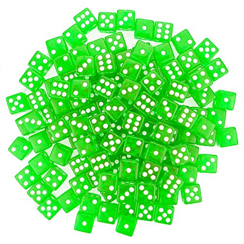 Brybelly 100 Green Dice, 16mm, Green