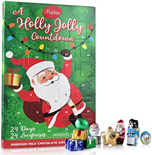 Madelaine Chocolate 2019 A Holly Jolly Christmas Countdown Advent Calendar, Filled With (6oz - 170g) 24 Solid Premium Milk Chocolate Christmas Themed Holiday Surprises (1 Pack)