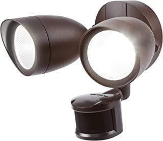 LEONLITE Dual-Head Motion-Activated LED Outdoor Security Light, Bronze 120W Eqv. 1400lm, UL & Energy Star Certified Exterior Flood Light, 5000K Daylight, 5 Years Warranty
