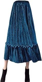 Womens Velvet Pleated Falbala Midi Skirt High Elastic Waist Skirts