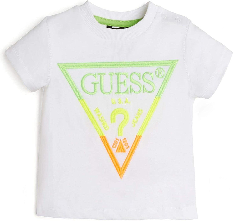 GUESS Boys' Flourescent Embroidered Logo Short Sleeve T-Shirt