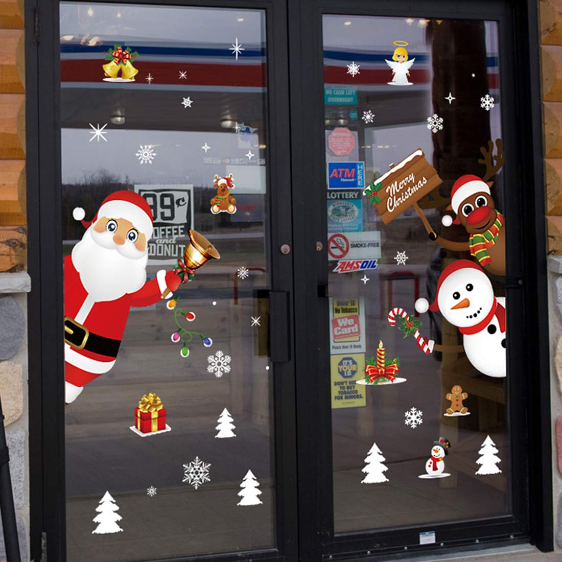 Dosminer Christmas Window Stickers Snowman Seasonal Wrap Introduction Claus C New York Mall Santa