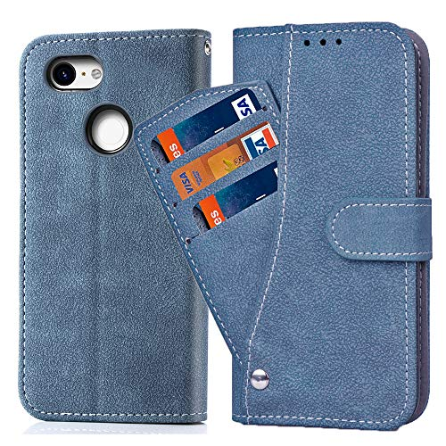 Asuwish Pixel 3 Case,Phone Cases Wallet Leather with Credit Card Holder Slim Kickstand Stand Flip Folio Protective Cover for Google Pixel 3 Women Girls Men Blue