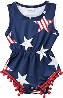 Baby Girls 4th of July Outfits USA Flag Stars Stripes Tassel Ball Romper Jumpsuit