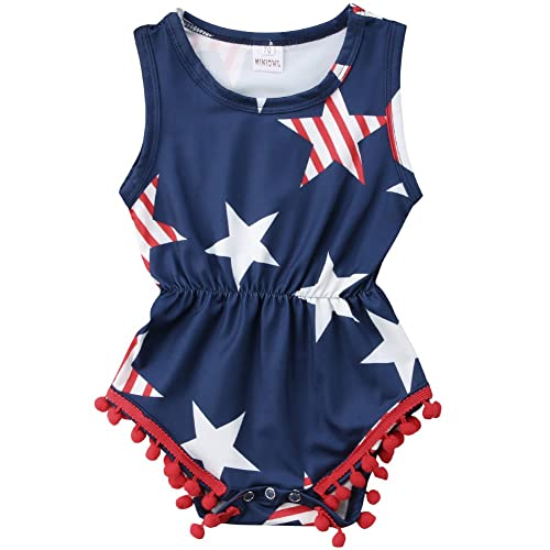 ae8d4d7de85 ONE S Baby Girls 4th of July Outfits USA Flag Stars Tassel Ball Romper  Jumpsuit