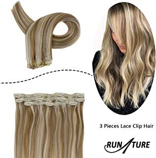 RUNATURE Brazilian Hair Clip in Extensions Human Remy Hair 14 Inches 50g/3pcs Golden Brown Highlighted with Blonde Color 10P613 Silky Straight Lace Clip in Hair Extensions Remy Human Hair Clip Ins