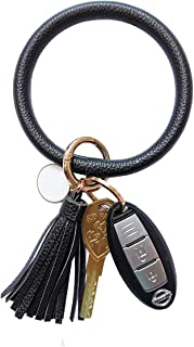 Tovly Wristlet Round Key Ring Chain Leather/Silicone Oversized Bracelet Bangle Keychain Holder Tassel for Women Girl