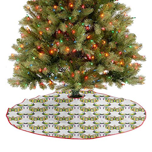 Falda de rbol de Navidad, patrn festivo con mscaras, disfraz tradicional de celebracin de carnaval, decoracin de Navidad para Navidad, Ao Nuevo, fiesta, hogar, morado, verde, amarillo, 122 cm