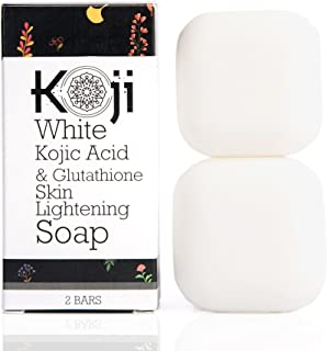 Kojic Acid & Glutathione Skin Lightening Soap (2.82 oz / 2 Bars) - Brightening & Bleaching Skin Tone Formula – Reduce Acne Scars, Wrinkles Elimination, Removal Acne Scars, Dark Spots And Freckles