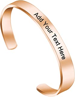 Amlion Personalized Bracelets for Women,Engraved Bracelets Cuff Personalized Gifts for Women Girls-Double Side Engraved