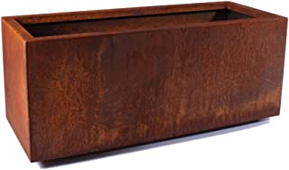 Veradek Metallic Series Corten Steel Large Long Box Planter, 17-Inch Height by 16-Inch Width by 39-Inch Length, Rust (LBXVLGCS)