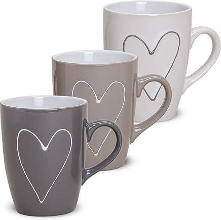 Preisvergleich für matches21 Große Tassen Becher Herzdekor Herzen grau/beige / weiß 3 Stk. Set aus Keramik gefertigt je 10 cm / 250 ml