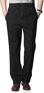 Men's Elastic Waist Jeans Pants Casual Loose Fit Straight Denim Pants