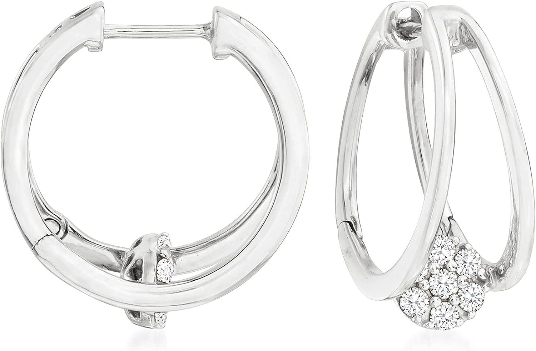 Ross-Simons 0.25 ct. t.w. Diamond Double-Hoop Earrings in 14kt White Gold