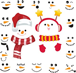 Christmas Snowman Stickers Set of 16, Cute Funny Fridge Stickers Refrigerator Stickers Holiday Christmas Decorations for Fridge, Garage, Office Cabinets, Door, Windows (Small Snowman 2Pack)