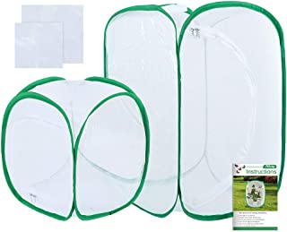 Pllieay 2 Pieces 2 Sizes Butterfly Habitat Cage with Clear PVC Film, Collapsible Light-transmitting Terrarium Pop-up White...