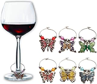 Wine Glass Charms Tags, Cute Butterfly Set of 6 for Champagne Cocktail Drink Markers Women's Gift