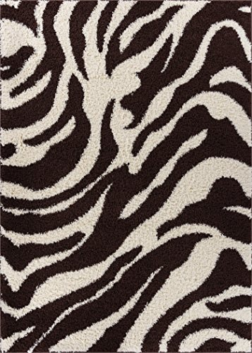 Well Woven Madison Shag Safari Zebra Brown Animal Print Area Rug 3'3'' X 5'3''