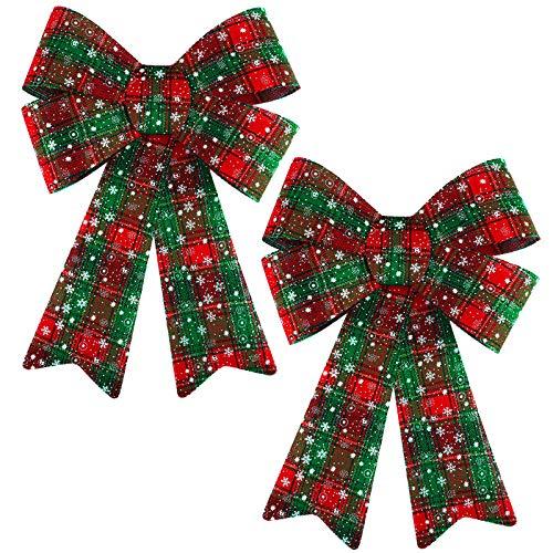 Aneco Paquete de 2 lazos de Navidad grandes de búfalo a cuadros, copos de nieve, corona de Navidad, adornos para árbol de Navidad, suministros de manualidades, 30,5 x 45,7 cm