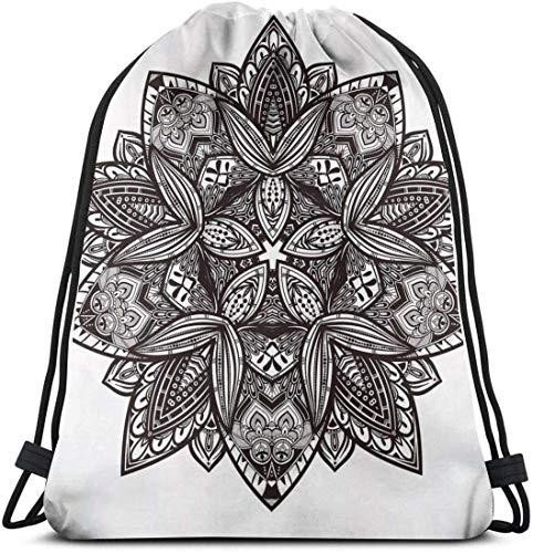 Kordelzug Rucksack Unisex Tasche für Fitnessstudio Reisen, ethnische Paisley Mandala Stammes-orientalischen Stil Vintage Tattoo künstlerische Muster