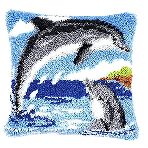 CO&CO Knüpfset Knüpfkissen Selberknüpfen Mit Gedruckten Leinwand Kissenbezug Kissen Latch Hook Kit Für Kinder, Erwachsene Oder Anfänger,Delfin(Size: 16.5' X 16.5')