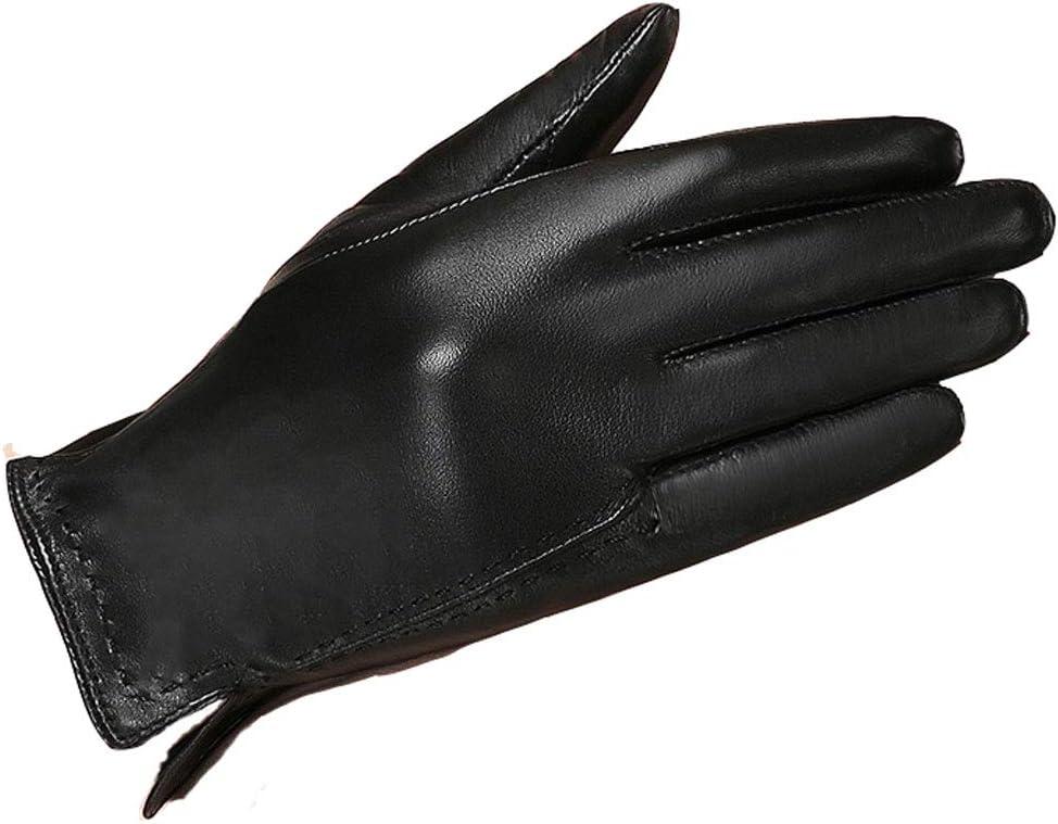 JFGX Leather Gloves Female Winter Plus Velvet Warm Cold Hand Repair Fashion Leather Gloves Winter Female Models Finger Gloves M