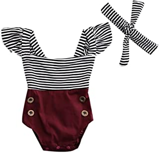 Newborn Infant Toddler Baby Girl Striped Patchwork Romper Jumpsuit with Headhand Outfit Clothes Set