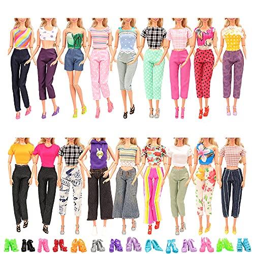 Miunana 20 Kleidung Shchuhe für Puppen = 5 Tops Bluse T-Shirt + 5 Hosen + 10 Schuhe für 11,5 Zoll Mädchen Puppen