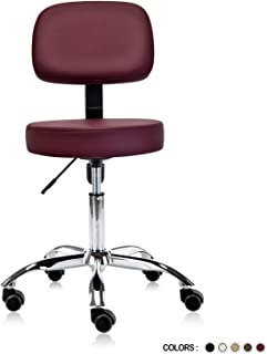 Dr.lomilomi Multi-Adjustable Hydraulic Rolling Medical Massage Stool Chair with Backrest 501 (Burgundy)
