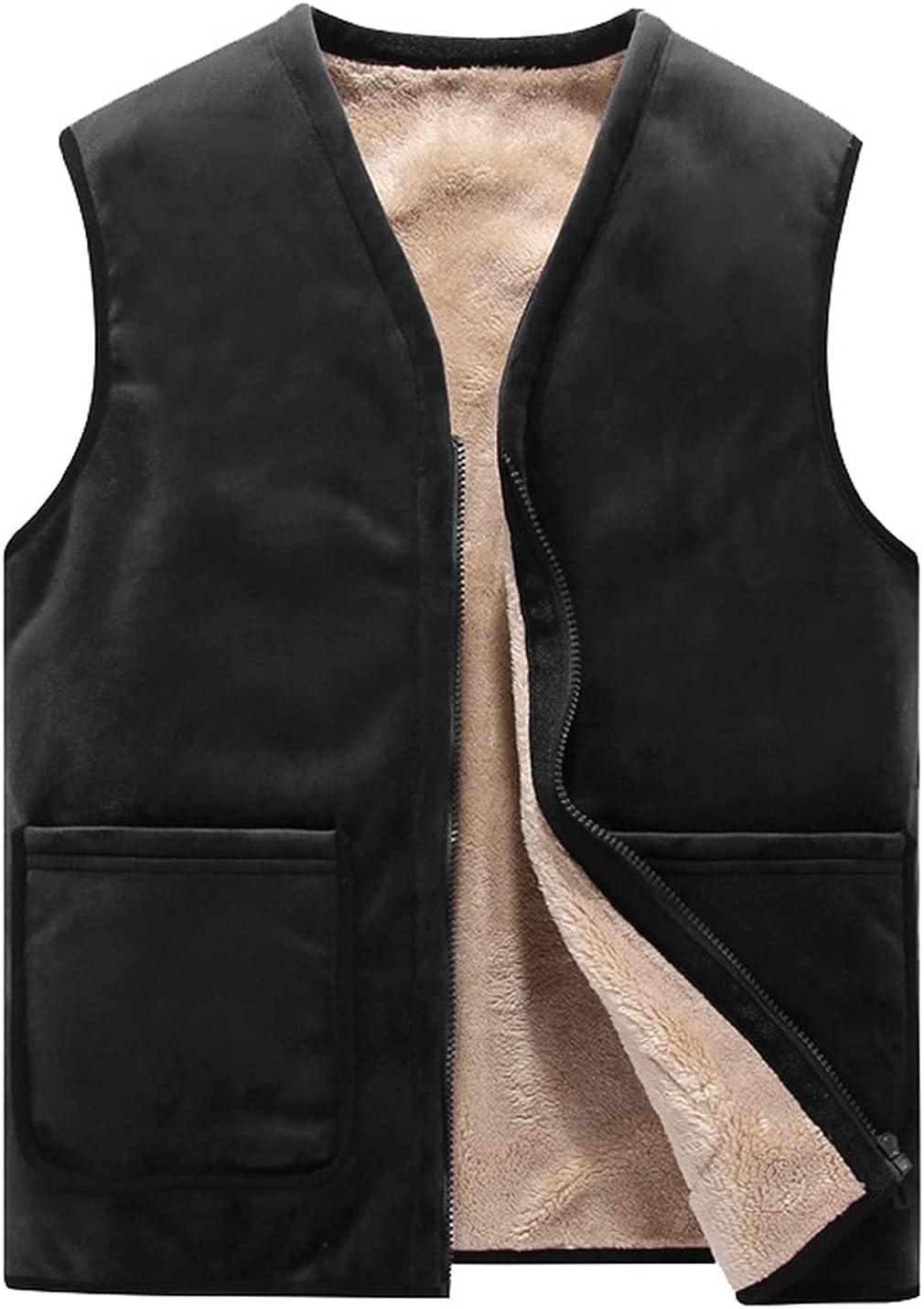 Kissonic Men's Winter Warm V-Neck Zip Fleece Vest Sherpa Lined Sleeveless Jacket Waistcoat