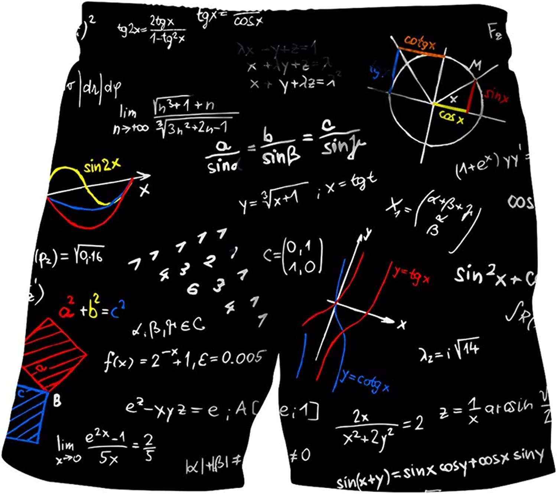 TzddWrqq Formula Pattern for European Beach Pants Shorts Quick Dry with Pockets Printed Swim Trunks,FormulaPattern,XXL