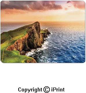Large Gaming Mouse Pad Colorful Ocean Coast Panoramic Neist Point Lighthouse Scotland United Kingdom Extended Mat Desk Pad Mousepad Non-Slip Rubber Mice Pads 9.8