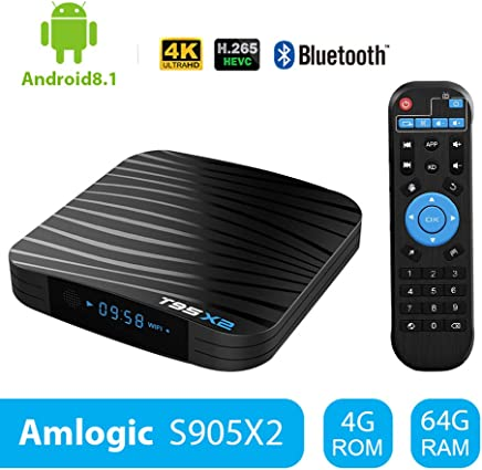 Sidiwen Android 8.1 TV Box T95X2 4GB 64GB Amlogic S905X2 Quad Core Reproductor multimedia inteligente Soporte 3D 4K Ultra HD H.265 Dual WIFI 2.4G/5G Bluetooth 4.1 Ethernet USB 3.0 Internet Set-top box