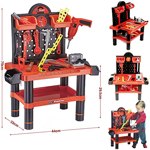 FunkyBuys? Childrens 54pc Tool Bench Playset Workshop Tools Kit Kids Toy Battery Operated Electronic Drill