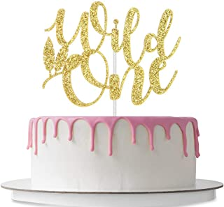 Wild One Cake Topper, Baby's Boy or Girl First Birthday Cake Decorations, 1st Birthday, Baby Shower, Gender Reveal Party Décor Supplies, Double Sided Gold Glitter