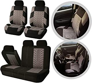 ZXMOTO 9PCS Car Seat Covers Universal Size Fit Full Set 5 Seaters Cars Truck Van SUV Seats Protector Cap with Hooks,Black/Grey