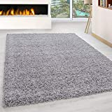 Abaseen Large Small Carpet Silver Rug Floor Size Extra New Mat Big Huge Thick Soft Shaggy Modern Rugs (Silver, 120x170cm)