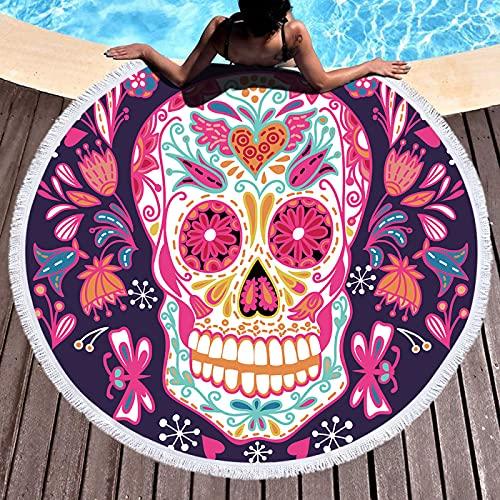 Toalla De Playa Redonda, Patrón De Impresión Digital, Toalla De Microfibra, Alfombra De Playa Absorbente De Secado Rápido, Toalla De Piscina 150 * 150cm