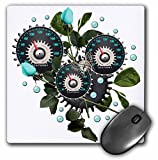 3dRose 8 x 8 x 0.25 Inches Mouse Pad, Cool Steampunk Barometer and Aqua Roses (mp_102671_1)