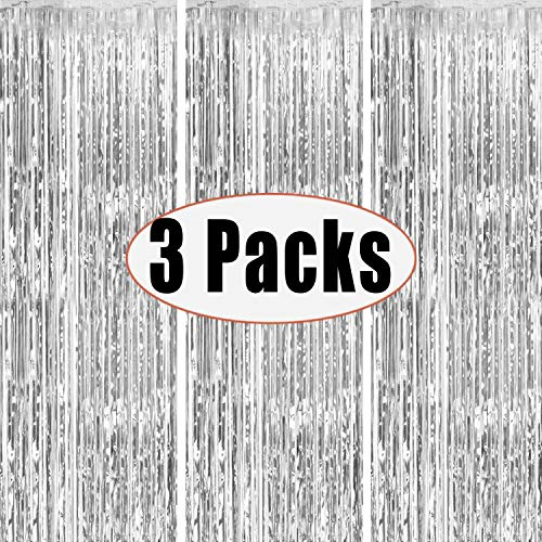 3 Packs 3.2ft x 6.6ft Silver Metallic Tinsel Foil Fringe Curtains Photo Booth Props for Birthday Wedding Engagement Bridal Shower Baby Shower Bachelorette Holiday Celebration Party Decorations
