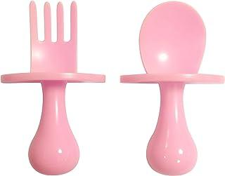 TEN@NIGHT Baby Spoon Fork Self Feeding Utensil Set Baby First Training Weaning for 6+ Month Baby Toddler BPA Free (Pink)